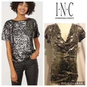 INC Silver Sequined Top BWT
